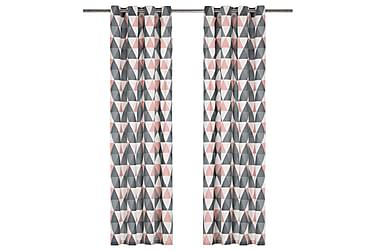 Gardiner med metallringer 2 stk bomull 140x175 cm grå og ros