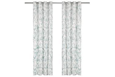Gardiner med metallringer 2 stk bomull 140x175cm grønn bloms