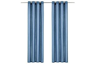 Gardiner med metallringer 2 stk bomull 140x225 cm blå