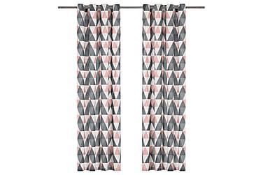 Gardiner med metallringer 2 stk bomull 140x225 cm grå og ros