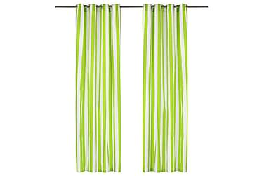 Gardiner med metallringer 2 stk stoff 140x175 cm grønn strip