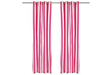 Gardiner med metallringer 2 stk stoff 140x175 cm rosa stripe