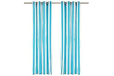 Gardiner med metallringer 2 stk stoff 140x225 cm blå striper
