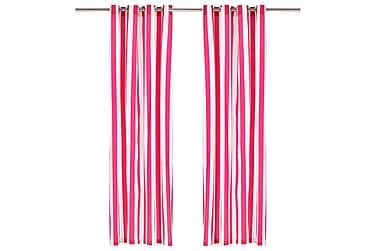 Gardiner med metallringer 2 stk stoff 140x245 cm rosa stripe