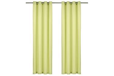 Gardiner med metallringer 2stk bomull 140x225cm grønn