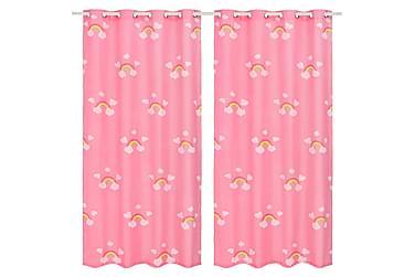 Lystette gardiner til barnerom 2 stk 140x240 cm regnbue rosa