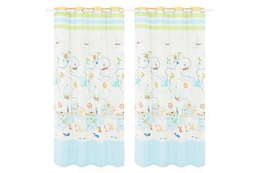 Lystette gardiner til barnerom 2 stk 140x240 cm reis verden