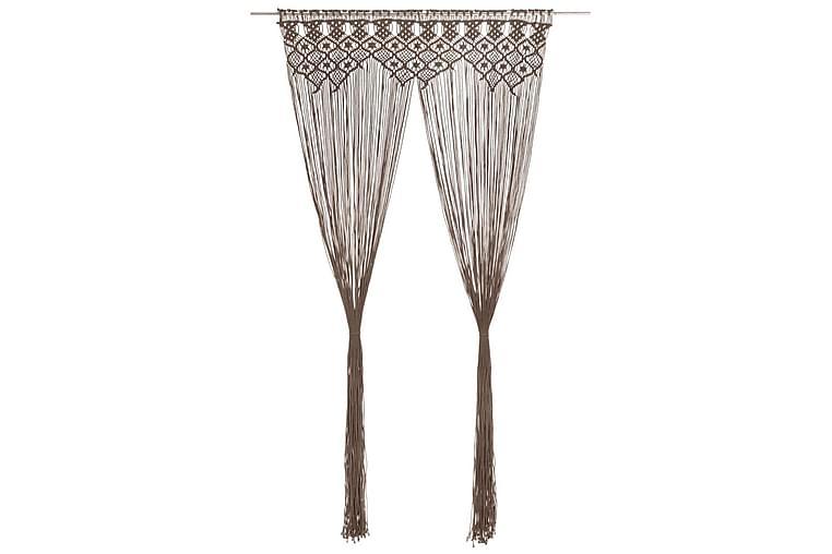 Makramé gardin gråbrun 140x240 cm bomull - Taupe - Innredning - Tekstiler - Gardiner