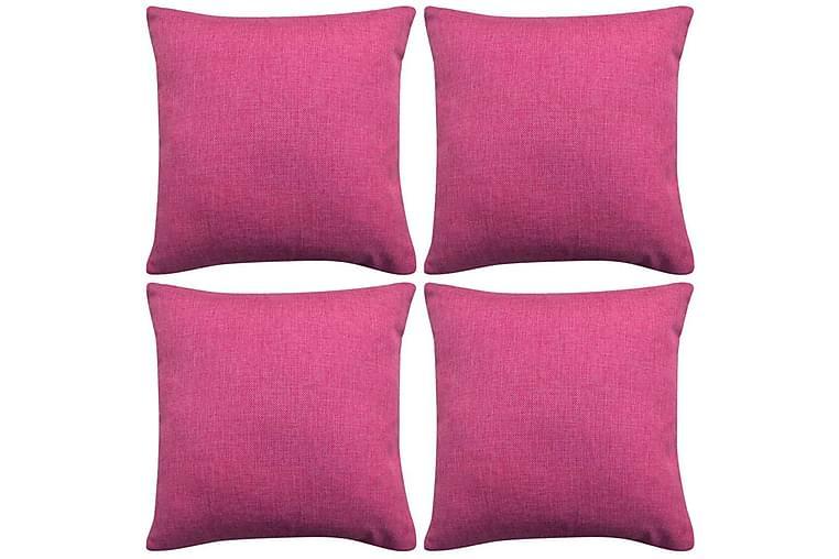 Putetrekk 4 stk Lin-aktig Pink 50x50 cm - Rosa - Innredning - Tekstiler - Putetrekk