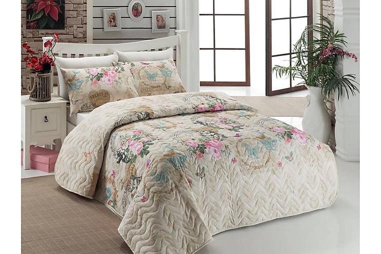 Sengeteppe Eponj Home Enkelt 160x220+Putetrekk Quiltet - Beige Multi - Innredning - Tekstiler - Sengetøy