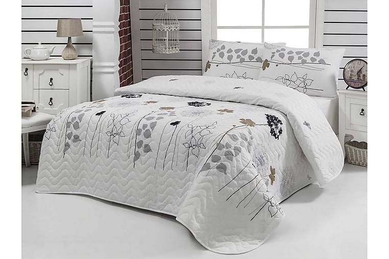 Sengeteppe Eponj Home Enkelt 160x220+Putetrekk Quiltet - Hvit Grå Svart Brun - Innredning - Tekstiler - Sengetøy