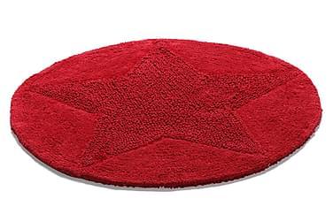 Bomullsmatte Star Rund 55 Vendbar Rød