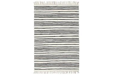 Håndvevet Chindi teppe bomull 160x230 cm antrasitt og hvit