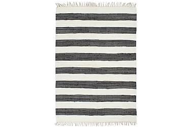 Håndvevet Chindi teppe bomull 80x160 cm antrasitt og hvit
