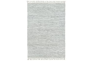 Håndvevet Chindi teppe lær 120x170 cm lysegrå