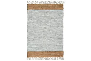 Håndvevet Chindi teppe lær 120x170 cm lysegrå og lysebrun