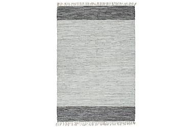 Håndvevet Chindi teppe lær 190x280 cm grå