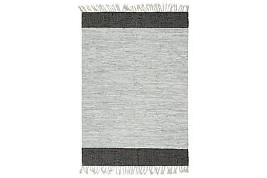Håndvevet Chindi teppe lær 80x160 cm lysegrå og svart