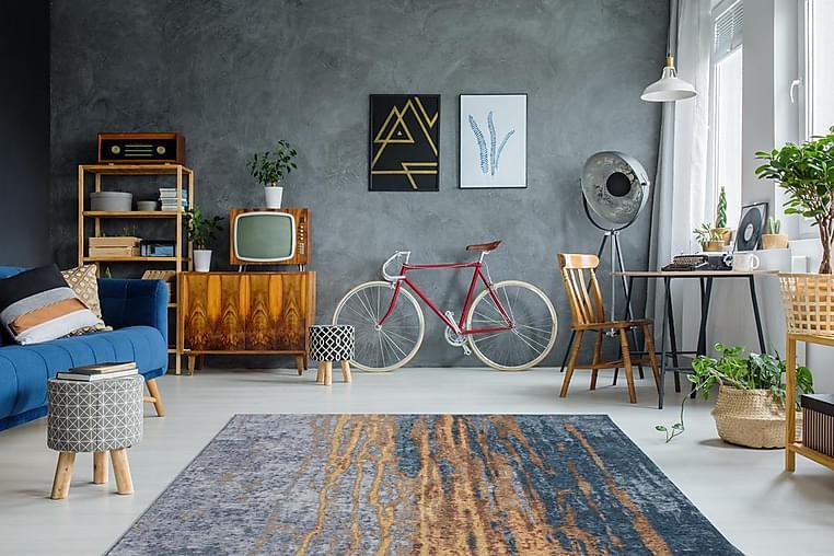 Matte Worthu Heu 115x170 cm Blå - D-Sign - Innredning - Tepper & Matter - Mønstrede tepper