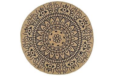 Håndlaget juteteppe med mørkeblå mønster 90 cm