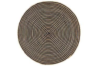 Håndlaget juteteppe med svart spiral mønster 150 cm