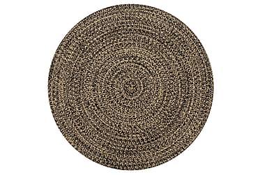 Håndlaget teppe jute svart og naturlig 150 cm