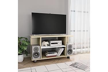 TV-benk med hjul hvit og sonoma eik 80x40x40 cm sponplate