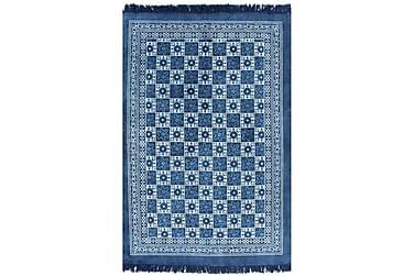 Gulvteppe kilimvevet bomull med mønster 160x230 cm blå