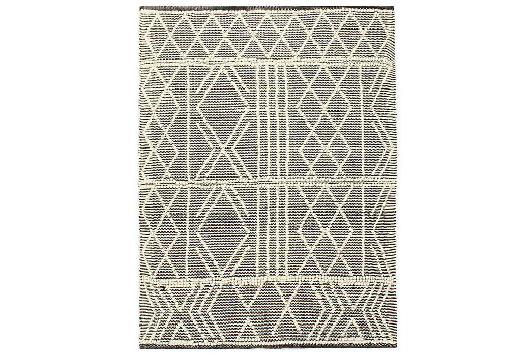 Håndvevd teppe ull 120x170 cm svart/hvit - Svart - Innredning - Tepper & Matter - Ullteppe