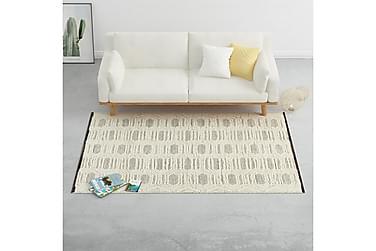 Håndvevd teppe ull 160x230 cm hvit/svart