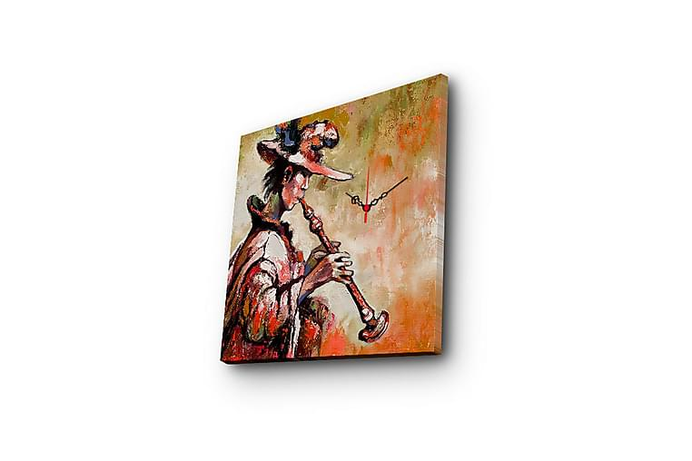 Canvasbilde Dekorativ med Klokke - Flerfarget - Innredning - Veggdekorasjon - Klokker