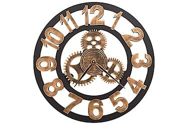 Veggklokke metall 58 cm gylden og svart