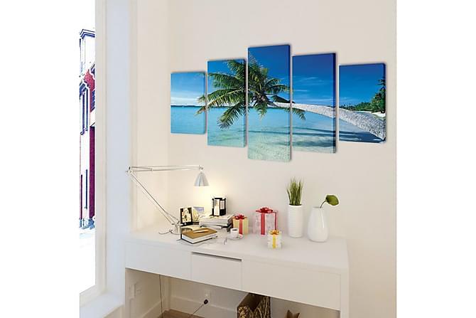 Kanvas Flerdelt Veggdekorasjon Sandstrand med Palmetre 200x1 - Flerfarget - Innredning - Veggdekorasjon - Posters