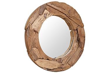 Dekorativt speil teak 80 cm rundt