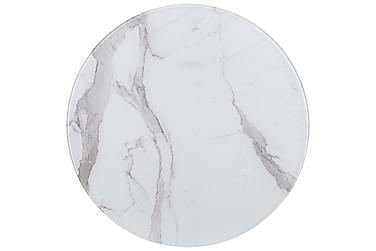 Bordplate hvit Ø80 cm glass med marmortekstur