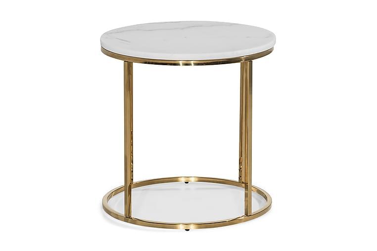 Sidebord Titania 50 cm Marmor Rundt - Hvit - Innredning - Små møbler - Brettbord og småbord