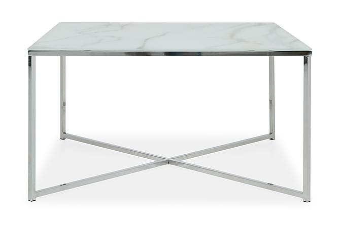 Sofabord Valeria 80 cm - MarmorGlass|Krom - Møbler - Bord - Sofabord