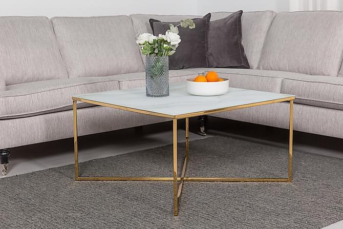 Sofabord Valeria 80 cm - MarmorGlass|Messing - Møbler - Bord - Sofabord