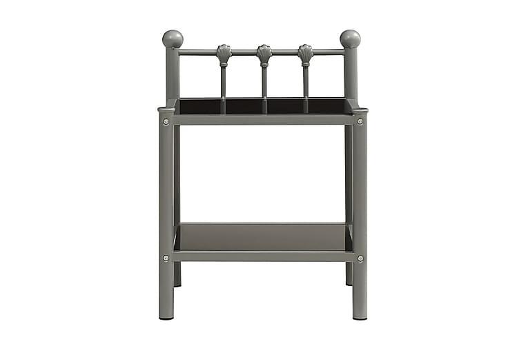 Nattbord 2 stk grå og svart metall og glass - Møbler - Bord - Sengebord & nattbord