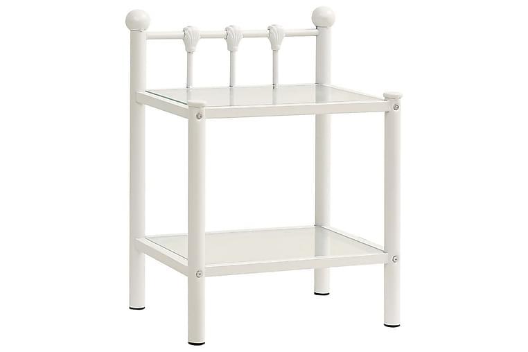 Nattbord hvit og gjennomsiktig 45x34,5x60,5 cm metall og gla - Møbler - Bord - Sengebord & nattbord