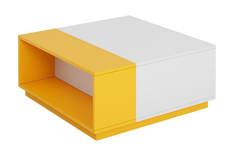 Settbord Ridino 80 cm - Hvit/Gul - Møbler - Bord - Sofabord