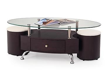 Sofabord Mascorro med Krakker 120x65 cm Glass