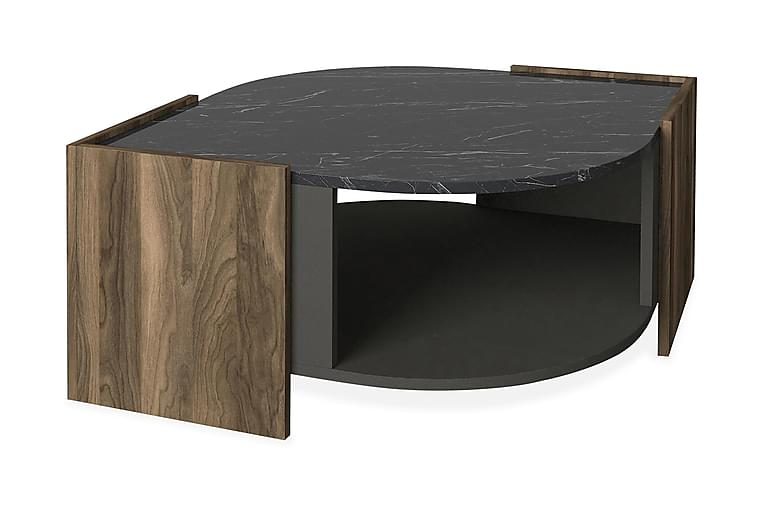 Sofabord Mathon 75 cm - Valnøtt Grå Svart - Møbler - Bord - Sofabord