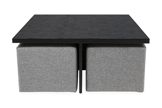 Sofabord Oliver 100 cm med 4 Puffer - Svart|Lysgrå - Møbler - Bord - Sofabord