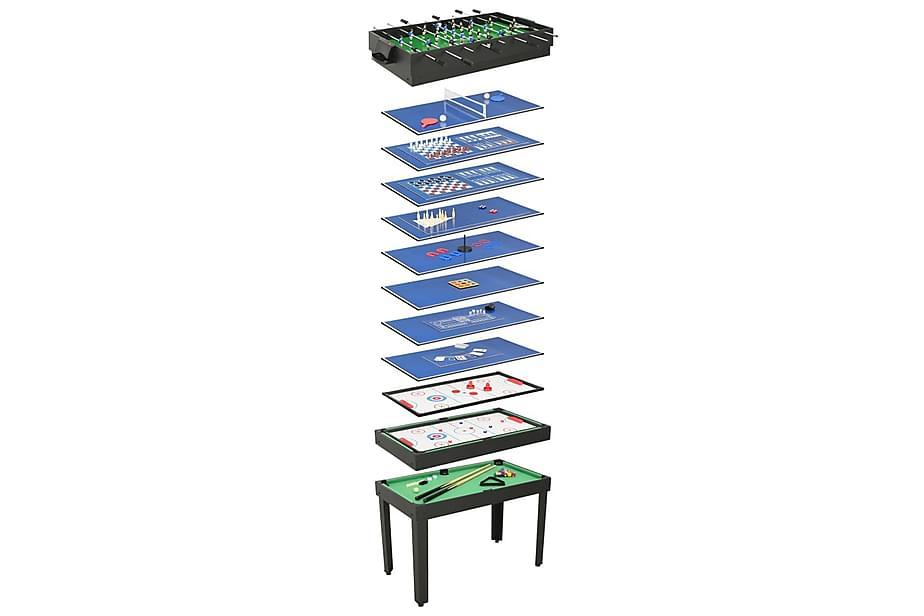 Multi-spillbord 15-i-1 121x61x82 cm svart