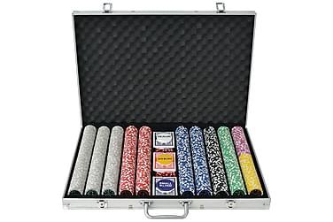 Pokersett med 1000 laser-sjetonger aluminium