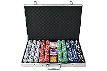 Pokersett med 1000 sjetonger aluminium