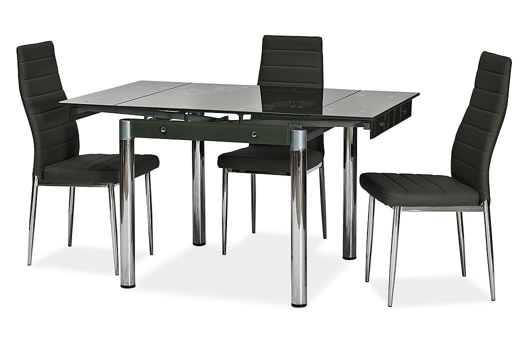 Spisebord Rapala Forlengningsbart 80 cm - Glass/Svart - Møbler - Bord - Spisebord & kjøkkenbord