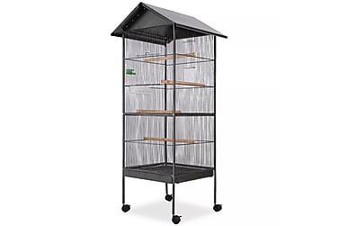 Fuglebur med tak stål svart 66x66x155 cm