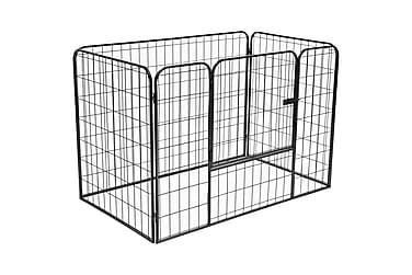 Hundegrind kraftig svart 120x80x70 cm stål